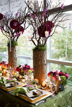 Cool Glamour.. Stunning Flower Posies, A Dash of #burgundy, Logs & Twigs By True Colors. I like the combination of green and yellow! #tablescape