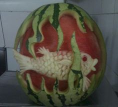Paradise Island Paradise Island, Fruit Art, Gourds, Maldives, Watermelon, Carving, The Maldives, Pumpkins, Wood Carvings