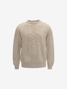 9c5b68a4ee245 Alexander McQueen - Natural Engineered Skull Wool Crew-Neck Sweater for Men  - Lyst