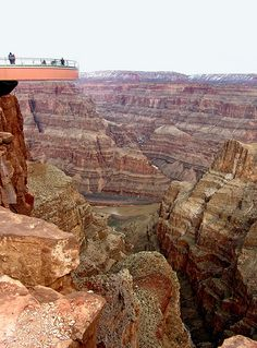 The Grand Canyon Skywalk is a one-of-a-kind glass bottom, cantilever bridge, and rests 4,000 feet above the Colorado River.