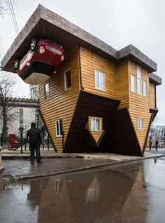 upside-down house in moscow at the All Russian Exhibition ~ great free ice skating too :-)