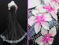Black Standard w Pink White 3D Flowers & Attached Black Floats