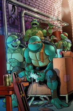 This picture says it all! TMNT ninja turtles gaming gamers gamer video gaming