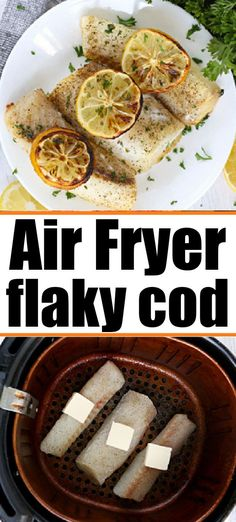 Air fryer fish recipe with no breading is here. Lightly seasoned fillets are healthy and cooked fork tender in just a few minutes. #airfryerfish #airfryercod #airfryerfishnobreading #ninjafoodifish