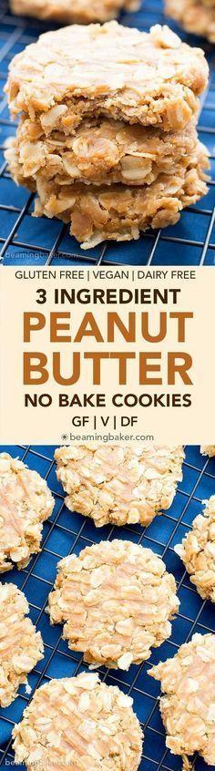3 Ingredient No Bake Peanut Butter Oatmeal Cookies (Gluten-Free, Vegan, Dairy-Free)