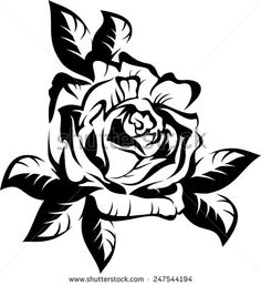 Black silhouette outline rose with leaves, isolated on white. Vector tattoo illustration.