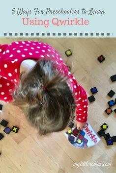 Fun ways for preschoolers to learn using Qwirkle tiles!