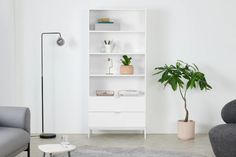 Marcell, bibliothèque 2 tiroirs, blanc | MADE.com Home Furnishings, Cushions, Shelves, House Design, Bookcase White, Frozen, Interiors, Home Decor, Drawers