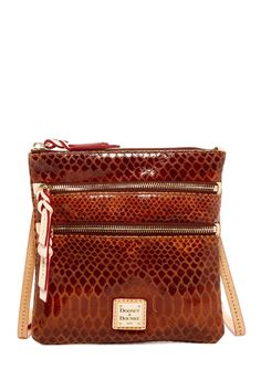 Snakeskin Triple Zip Crossbody Bag