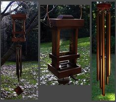 Combination Bird Feeder/WindChime. The only problem with this idea is that most birds won't feed near something that makes noise...but still pretty to look at.