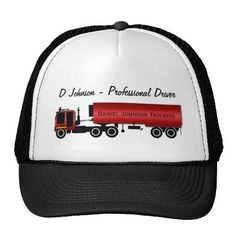 Big Rig 18 Wheeler Personalized Trucker Cap for your Professional Drivers.  Completely customizable text so you can type in your company name or driver's name.  http://www.zazzle.com/big_rig_18_wheeler_personalized_trucker_cap-148990378780251420?rf=238575087705003771