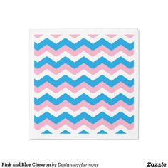 Pink and Blue Chevron Paper Napkin