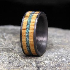 Used Jack Daniel Distillery Whiskey Barrel Wood And Turquoise Inlay Carbon Fiber Wedding Band Or Ring