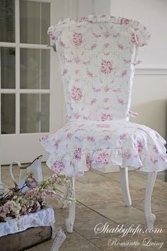 Romantic Ruffled Chair Slipcover Set...Garland Rose. for my shabby chic guest room (that doesn't exist yet)