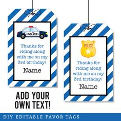Paper goods and DIY printables for parties and holidays Police Wedding, Police Party, 4th Birthday Parties, 3rd Birthday, Birthday Ideas, Party Favor Tags, Party Favors, Party Printables, Criminology