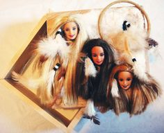 OOAK Native American Indian Theme Feather Dream Catcher Barbie Heads Doll Art-Hardwood Keepsake Box