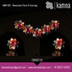 KMN 160 - Navaratna Floret & Earrings