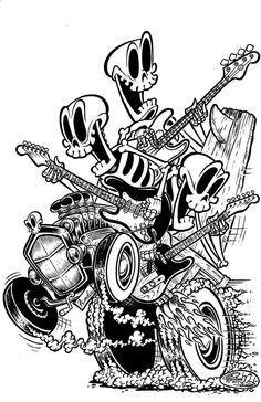 skeletons rockin' out while peelin' out in a hot rod - Shawn Dickinson Art