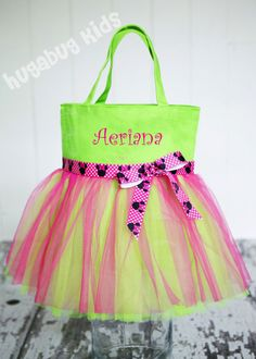 "Tutu Bag, Dance bag, Girl's Personalized Tote Bag in 6 canvas colors in 13.5""x13.5"" - Great Size on Etsy, $34.00"