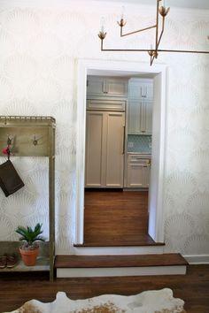 "Side Entry: wallpaper- Farrow & Ball ""Lotus""; custom chandelier"