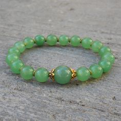 -Adventurine and African Trade bead mala bracelet - my fave crystal of all time