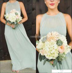 Elegant Sage Green Chiffon Long Bridesmaid Dresses