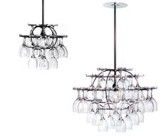 Wine glass chandelier 2-for-1- display your wine glasses in an eye-catching chandelier