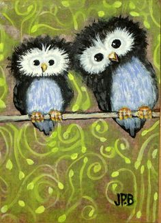 Orig Collectible ART ACEO OWL PAINTING Mixed Media WILDLIFE Birds by Jane