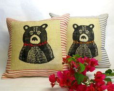 Check out this item in my Etsy shop https://www.etsy.com/listing/268748844/decorative-bear-pillow-hand-printed
