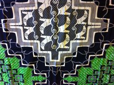 African Wax Print Fabric by the PANEL.  Green, Black, White, Gray with Large Center Pattern - pinned by pin4etsy.com
