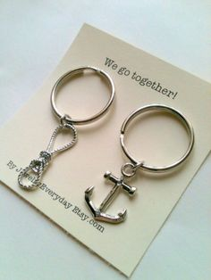 Anchor and Rope Key Chain Set, Couple Key Ring Gift, Husband and Wife, Girlfriend and Boyfriend, We go together!, Monogram, Initial Option