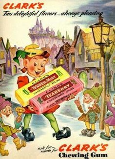 Clark's chewing gum - peter pan in fairy land Pub Vintage, Photo Vintage, Vintage Candy, Vintage Love, Vintage Signs, Vintage Advertising Posters, Old Advertisements, Vintage Posters, Advertising Campaign