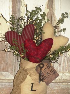Primitive Valentine Stocking-Red Tones