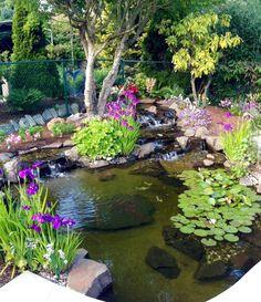 Modern Diy Garden Pond Waterfall Ideas For Backyard 43 - Garden Design Ideas 2019 Outdoor Ponds, Outdoor Gardens, Outdoor Fountains, Design Fonte, Fish Pond Gardens, Garden Ponds, Koi Ponds, Garden Path, Water Garden Plants