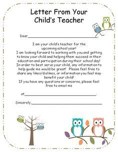 welcome letter from teachers