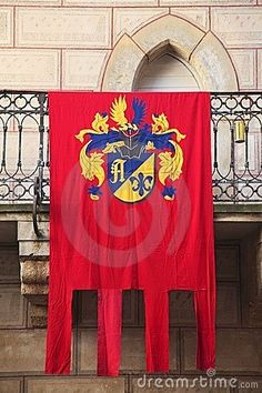 Medieval Flag with your own family crest on it to harald your special day