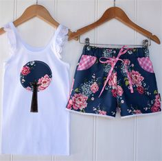 Pretty floral Tree ~ sizes 1-5 Sassy shorts + applique singlet ~ lace, blue | Twinkle Star | madeit.com.au