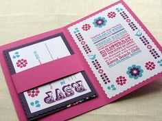 Mexico Wedding Invitation - Mexican Folk Fiesta Peasant Print - Pocket fold Alternative