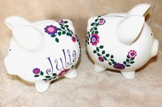 Personalized Piggy Bank. Great gift for your flower girl, ring bearer, new baby or any little one on your gift list.