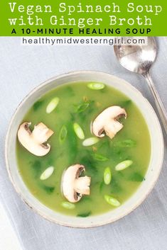 Vegan Spinach Soup is a healing vegetable soup with soothing ginger broth and immunity-boosting spinach. Add sliced mushrooms & onions for a heartier version. Turkey Broth, Turkey Soup, Vegan Stew, Vegan Soups, Vegan Food, Whole Food Recipes, Soup Recipes, Healthy Recipes, Spinach Recipes