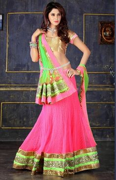 Buy online green and hot pink colored banarasi and net bridal lehenga choli. This beautiful bridal lehenga choli is enriched with lace border, patch border work, resham embroidery and zari work. Shop online indian attire at lowest price. Lehenga Choli Online, Indian Sarees Online, Lehenga Saree, Sari, Pink Bridal Lehenga, Indian Bridal Lehenga, Indian Dresses, Indian Outfits, Indian Clothes