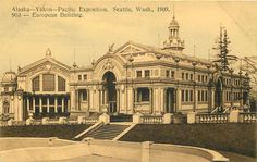 Seattle WA European Building Alaska Yukon Pacific Exposition Postcard 1909