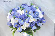 """Свадебные цветы ручной работы. Букет невесты """" Iris rainbow"""". AnnaPokk. Ярмарка Мастеров. Ирис из глины, фрезия"""