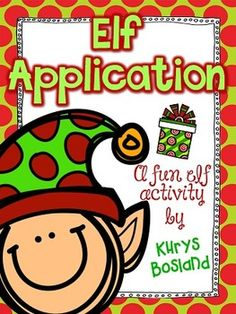 This elf application activity will make a great addition to your elfin' around this holiday! Your kiddos will have the chance apply for a job as an Elf at the North Pole!  After completing their application and sending it the North Pole, it will be sent back with a super special letter from Santa, explaining about their new jobs.