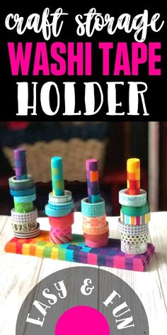 This is a great project to help with your craft room storage and organization (especially if you have a small craft room!) This washi tape holder is super functional and cute when painted with a rainbow of colors or any way your heart desires! Craft Room Closet, Craft Room Storage, Craft Organization, Storage Ideas, Diy Home Crafts, Homemade Crafts, Diy Crafts To Sell, Fun Crafts, Diy Washi Tape Holder