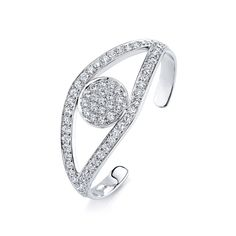 White-Gold & Diamond Extra Large Evil Eye Cuff - Bracelets - Jewelry  - Sydney Evan