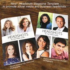 """Headshots Magazine Template - Turn pages to profit with Magazine Mama's mini magazine template """"Headshots"""".  This 8-page 5.5x8.5 magazine style template is a must-have for promoting glamour headshot sessions, social media headshot session, business profile photos and more!   This minimalist design will easily fit into any branding scheme. You can change the color blocks to match your business colors or leave the grey for a neutral look and feel. magazinemama.com"""