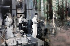 "Saatchi Art Artist Michal Mráz; Painting, ""Disturbed 4 (SOLD)"" #art people, disturbed, michal mraz, forest, slovakia, office"