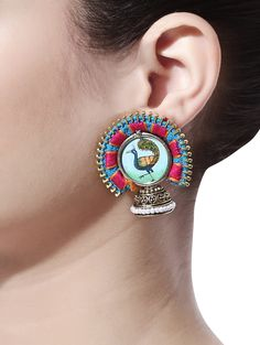 Vibrant multicoloured jhumkas delicately hand-made to perfection! #Earrings #Traditional #Festive #Handmade