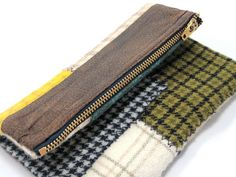 Clutch Wallet Wool Faux Leather Patchwork by PoePoePurses on Etsy, $35.00
